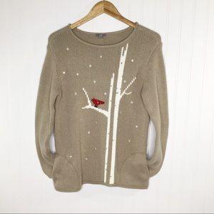 J. Jill Cardinal Snowflake Sweater Pockets Size S